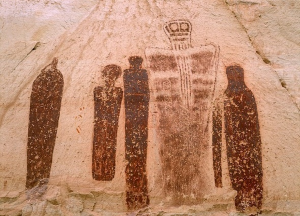 "USA, Utah, Canyonlands NP, Great Gallery pictographs known as the ""Holy Ghost"""